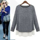 Women Knitted Jumper Sweater Chiffon Hem Stitching BlouseGirl Loose Top Crewneck