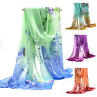 Womens Ladies Amazing Long Chiffon Stole Scrawl Flower Printed Wrap Soft Scarf