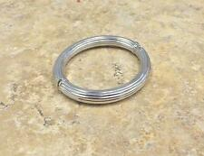 "BOLD RIBBED OVAL 14K WHITE GOLD 7-1/2"" BANGLE BRACELET QVC SOLD OUT, 12.4G"