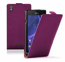 Ultra Slim MAGENTA Leather Flip Case Cover Pouch For Sony Xperia T3 experia
