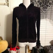 JUICY COUTURE VELOUR ZIP UP HOODIE SIZE LARGE  Black