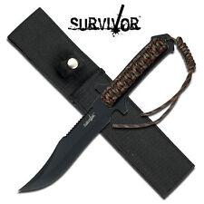 KNIFE COLTELLO DA CACCIA SURVIVOR 764 CON BRACCIALE PARACORD SOPRAVVIVENZA RAMBO
