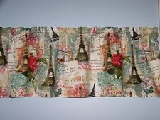 Paris France Eiffel Tower Rose Postcard Valance Curtain