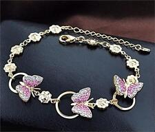18k Gold Plated Butterfly Charm Bangle Bracelet with Swarovski Crystal  Elements