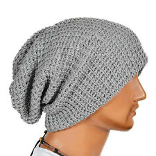 Mens Slouch Cap Oversize Long Beanie Women Baggy Cap Crochet Knit Ski Hat Plain