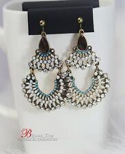 Boucles d`Oreilles Clips Gros Mini Perle Cremeux Bleu Goutte Marron Vintage XX 8