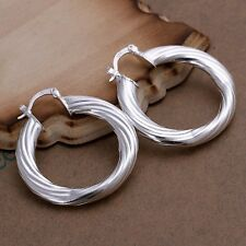 New Women 925 Sterling Silver Plated Twist Hoop Studs Dangle Earrings Jewelry