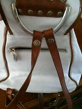 Valentina Leather Backpack Purse WHITE/RED BROWN Trim Pre-Owned CUTE! Italy~