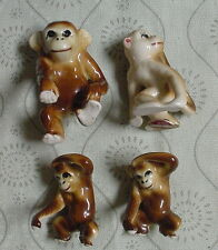 Set of Four (4) Vintage Bone China Japan Miniature MONKEY Figurines