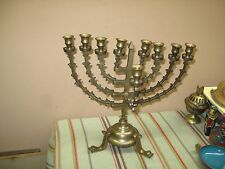 Vintage Judaica Brass Bronze Temple Menorah Rotating Removable Arms Fish Leg 13""