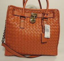 New Michael Kors woven Hamilton larger shoulder Persimmon orange shoulder bag