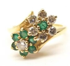 Vtg 14K Gold Natural Emerald & Diamond Ring Sz 6 Cluster Flower Floral Estate
