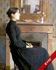 BEAUTIFUL YOUNG WOMAN IN BLACK DRESS PORTRAIT PAINTING ART REAL CANVAS PRINT