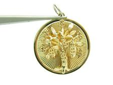 14k Solid Yellow Gold Money Tree Design Vintage Charm Pendant Necklace 8.4 Grams