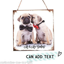 Mr & Mrs Pug dogs | Add text | Plaque | Valentine | Wedding | Christmas