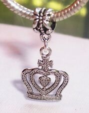 Princess Crown Queen Royalty Dangle Bead for Silver European Charm Bracelets