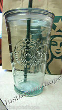 Starbucks Recycled Glass Cold to Go Cup Tumbler 16 oz Straw NWT Spain