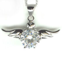 925 Sterling Silver Guardian Angel Wings Pendant Necklace Heart CZ Mum Xmas Gft