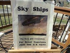 """PRINT OF WWII NAVY RECRUITMENT POSTER NAMED """"SKY SHIPS"""""""