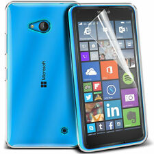 Ultra Thin Clear TPU Gel Skin Case Cover & LCD Film For Microsoft Lumia 640 LTE
