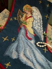 Vintage Completed Needlepoint Christmas Stocking GIFT ~ Fairy Angel Musical Navy
