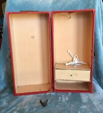 VINTAGE RED Leatherette DOLL TRUNK Locks and has Travel Stamps