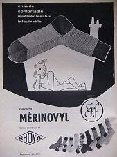 PUBLICITÉ DE PRESSE 1956 CHAUSSETTES MÉRINOVYL LAINE MÉRINOS - ADVERTISING