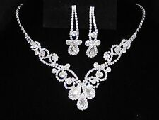 Bridal Silver W. Clear Rhinestone Crystal Necklace and Earrings Set /16475