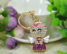 XC Angel Cute Keyring Rhinestone Crystal Charm Pendant Key Bag Chain Lovers Gift