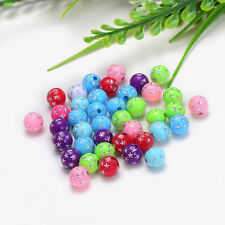 40PCS 8mm Acrylic decorated with stars Spacer Beads Round Ball Free shipping Mix