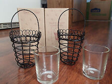 2 BLACK WIRE BASKET VOTIVE / TEA LIGHT CANDLE HOLDERS WITH GLASS INSERT.