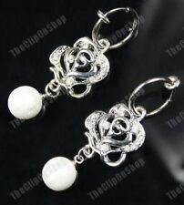 CLIP ON hoop CREAM PEARL&CRYSTAL ROSE diamante EARRINGS silver pltd pierce-look