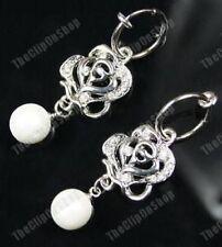CLIP ON hoop CREAM PEARL&CRYSTAL ROSE diamante EARRINGS silver pltd pierce-look