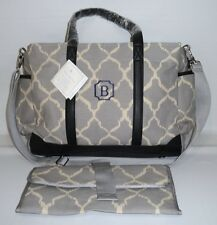 "POTTERY BARN KIDS Classic Diaper Baby Bag Tote, GRAY IKAT, NEW, MONOGRAM ""B"""