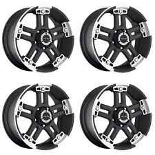 "Set Of 4 17"" Vision 394 Warlord Black Machined Wheels 17x8.5 6x5.5 Chevy GMC"