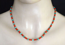 Ladies Sterling Silver Necklace Handmade Coral Turquoise Tibetan Jewelry LN13