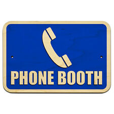 """Phone Booth 9"""" x 6"""" Wood Sign"""
