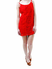 For Love & Lemons Women's New Strappy Flowers Lace Dress Red RRP £155 BCF65