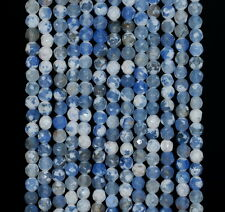 4MM  AGATE GEMSTONE ICE BLUE FACETED ROUND LOOSE BEADS 15""