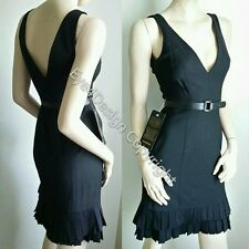 NWT Sexy Bebe Deep V Neck Dress Black Nude lace Black Violet 0 2 34 36 XS Small