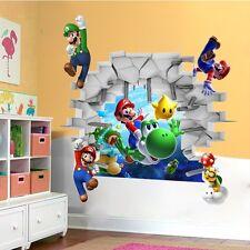 3D vista Super Mario Arte Bambini arredamento camera muro adesivo citazione