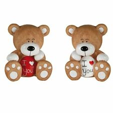 Une figurine ourson I love you - Petit ours brun et blanc Teddy bear je t'aime