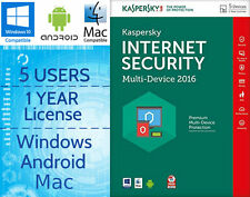 Kaspersky Internet Security 5 utenti/PC 1-ANNO 2016 chiave di licenza di download