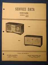 ROGERS MAJESTIC PHILIPS P447 R847 RADIO SERVICE MANUAL ORIGINAL FACTORY ISSUE