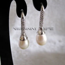 7.5*8.5mm White Freshwater Pearl Dangle Earrings Pearl Earrings DbS U