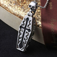 Unique Stainless Gothic Openable Cross Coffin Skeleton Pendant Chain Necklace ZX