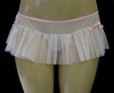 Pink Ribbon Embroidered Hearts White Ruffle Mesh Skirt G-String O/S Leg Avenue