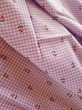Vintage retro true 50s 90 cm x 1.7 m cotton purple check red tulips fabric NOS