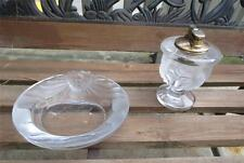 Vintage Lalique Tete de Lion Smoke Set Ashtray Lighter