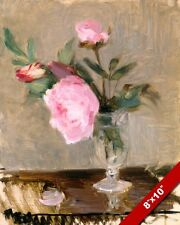 PINK PEONY PEONIES IN A VASE FLOWERS MORISOT PAINTING ART REAL CANVAS PRINT